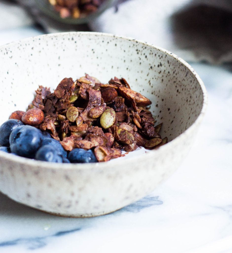 Photograph of granola and blueberries.